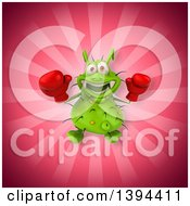 Clipart Of A 3d Green Germ Virus Boxer On A Pink Background Royalty Free Illustration