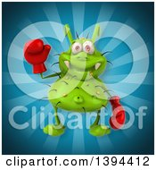 Clipart Of A 3d Green Germ Virus Boxer On A Blue Background Royalty Free Illustration