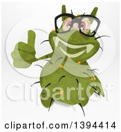 Clipart Of A Cartoon Green Germ Virus On A White Background Royalty Free Illustration