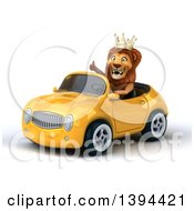3d Male Lion King Driving A Yellow Convertible Car On A White Background