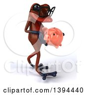 Clipart Of A 3d Red Frog Carrying A Piggy Bank On A White Background Royalty Free Illustration