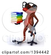Clipart Of A 3d Red Frog Holding A Stack Of Books On A White Background Royalty Free Illustration
