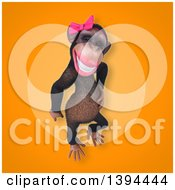 Clipart Of A 3d Female Chimpanzee On An Orange Background Royalty Free Illustration