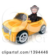 Clipart Of A 3d Chimpanzee Monkey Driving A Convertible Car On A White Background Royalty Free Illustration