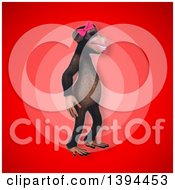 Clipart Of A 3d Female Chimpanzee On A Red Background Royalty Free Illustration