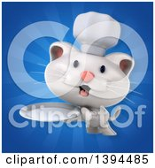 Clipart Of A 3d White Chef Cat On A Blue Ray Background Royalty Free Illustration