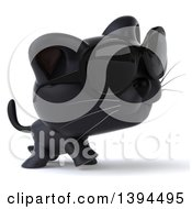 Clipart Of A 3d Black Cat On A White Background Royalty Free Illustration