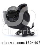 Clipart Of A 3d Black Cat On A White Background Royalty Free Illustration by Julos