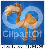 Clipart Of A 3d Camel On A Blue Ray Background Royalty Free Illustration