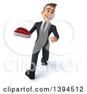 Clipart Of A 3d Young White Businessman Holding A Beef Steak On A White Background Royalty Free Illustration