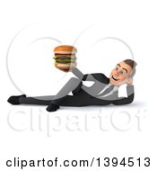 Clipart Of A 3d Young White Businessman Holding A Double Cheeseburger On A White Background Royalty Free Illustration