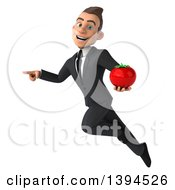 Clipart Of A 3d Young White Businessman Holding A Tomato On A White Background Royalty Free Illustration