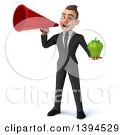 Clipart Of A 3d Young White Businessman Holding A Green Bell Pepper On A White Background Royalty Free Illustration
