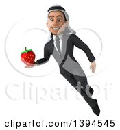 Clipart Of A 3d Young Arabian Businessman Holding A Strawberry On A White Background Royalty Free Illustration