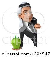 Clipart Of A 3d Young Arabian Businessman Holding A Green Bell Pepper On A White Background Royalty Free Illustration