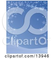 Blue Wintry Background Of Santas Reindeer Leading The Sleigh Through The Sky On A Snowy Wintry Night Above Snow Flocked Trees Clipart Illustration