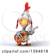 Clipart Of A 3d White Chicken Playing A Guitar On A White Background Royalty Free Illustration
