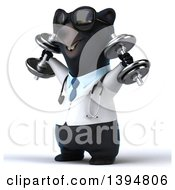 Clipart Of A 3d Black Bear Veterinarian Or Doctor Working Out Doing Shoulder Presses With Dumbbells On A White Background Royalty Free Illustration by Julos