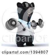 Clipart Of A 3d Black Bear Veterinarian Or Doctor Working Out Doing Lateral Raises With Dumbbells On A White Background Royalty Free Illustration by Julos