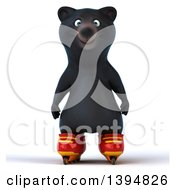 Clipart Of A 3d Black Bear Roller Blading On A White Background Royalty Free Illustration by Julos