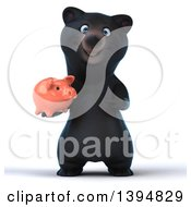 Clipart Of A 3d Black Bear Holding A Piggy Bank On A White Background Royalty Free Illustration