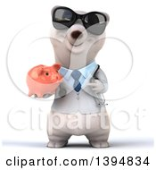 Clipart Of A 3d Polar Bear Doctor Or Veterinarian Holding A Piggy Bank On A White Background Royalty Free Illustration