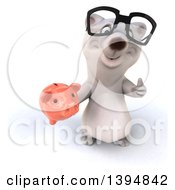 Clipart Of A 3d Bespectacled Polar Bear Holding A Piggy Bank On A White Background Royalty Free Illustration