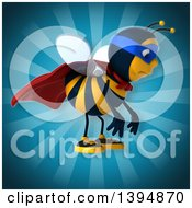 Clipart Of A 3d Super Male Bee On A Blue Background Royalty Free Illustration by Julos