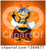Clipart Of A 3d Super Male Bee On An Orange Background Royalty Free Illustration by Julos