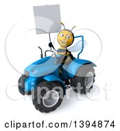Poster, Art Print Of 3d Male Bee Operating A Tractor On A White Background