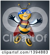 Clipart Of A 3d Super Male Bee On A Gray Background Royalty Free Illustration by Julos