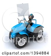 Poster, Art Print Of 3d Alien Operating A Tractor On A White Background