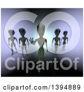 Clipart Of A Group Of 3d Mysterious Aliens Over Gradient Royalty Free Illustration