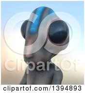 Clipart Of A 3d Alien Avatar Over Gradient Royalty Free Illustration