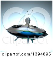 Clipart Of A 3d Alien Flying A Ufo Royalty Free Illustration