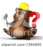 Clipart Of A 3d Construction Beaver Holding A Question Mark And Axe On A White Background Royalty Free Illustration