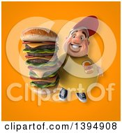 Clipart Of A 3d Chubby White Guy Holding A Giant Cheeseburger On An Orange Background Royalty Free Illustration