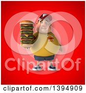 Clipart Of A 3d Chubby White Guy Holding A Giant Cheeseburger On A Red Background Royalty Free Illustration
