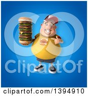Clipart Of A 3d Chubby White Guy Holding A Giant Cheeseburger On A Blue Background Royalty Free Illustration