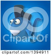 3d Blue Fish On A Blue Background