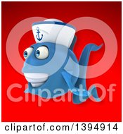 3d Blue Sailor Fish On A Red Background
