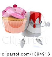 3d Can Of Red Paint Character Holding A Cupcake On A White Background