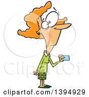 Cartoon Red Haired Caucasian Woman Making A Purchase With A Credit Or Debit Card