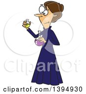 Clipart Of A Cartoon Brunette Caucasian Female Chemist Marie Curie Holding Science Flasks Royalty Free Vector Illustration