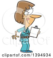 Cartoon Energetic White Female Nurse Holding A Medical Chart On A Clipboard And Wearing A Vaccine Belt