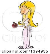 Clipart Of A Cartoon Greek Goddess Persephone Holding A Pomegranate Royalty Free Vector Illustration by toonaday
