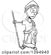 Clipart Of A Cartoon Black And White Greek Goddess Hera Royalty Free Vector Illustration