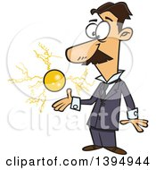 Clipart Of A Cartoon Male Electrical Engineer Nicola Tesla With A Floating Ball Of Energy Royalty Free Vector Illustration