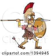 Clipart Of A Cartoon Greek God Achilles With An Arrow In His Heel Royalty Free Vector Illustration by toonaday