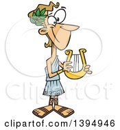 Clipart Of A Cartoon Greek God Apollo Holding A Lyre Royalty Free Vector Illustration